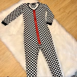 Current mood checkered jumpsuit